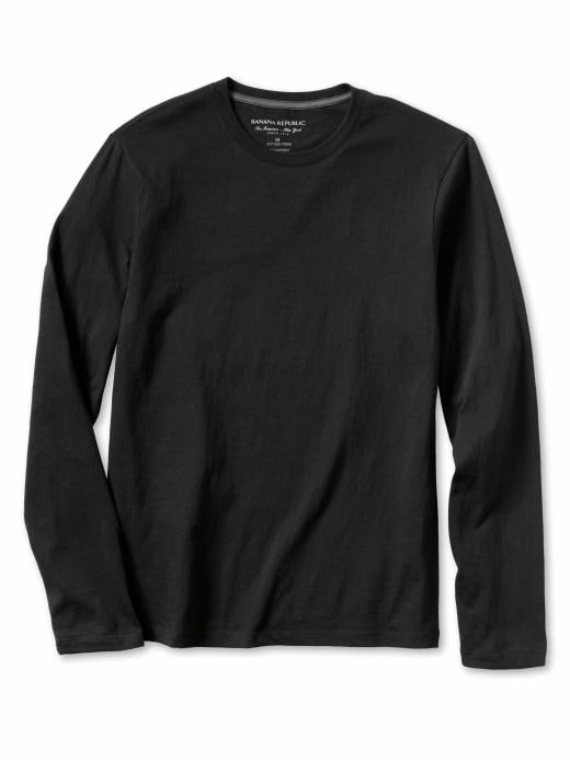 Banana Republic Solid Long-Sleeve Fitted Crew Tee - Black - Banana Republic Canada