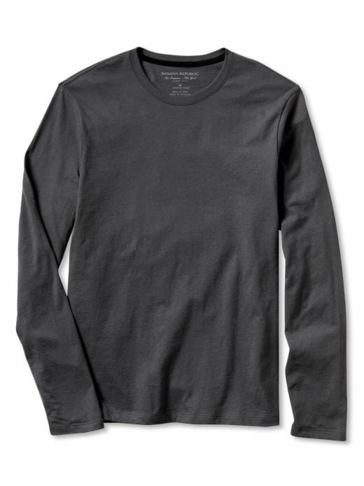 Banana Republic Solid Long-Sleeve Fitted Crew Tee - Coal - Banana Republic Canada