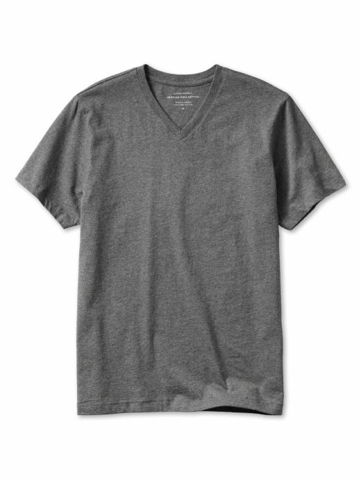 Banana Republic New Pima Cotton V-Neck Tee - Dark heather charcoal - Banana Republic Canada