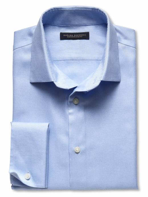 Banana Republic Slim Fit Non-Iron French Cuff Royal Oxford - New baby blue - Banana Republic Canada