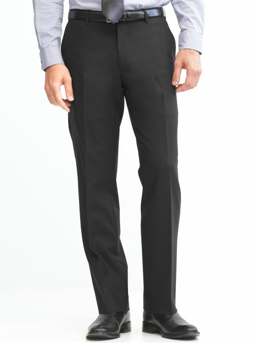 Banana Republic Classic Fit Solid Wool Trouser - Black - Banana Republic Canada