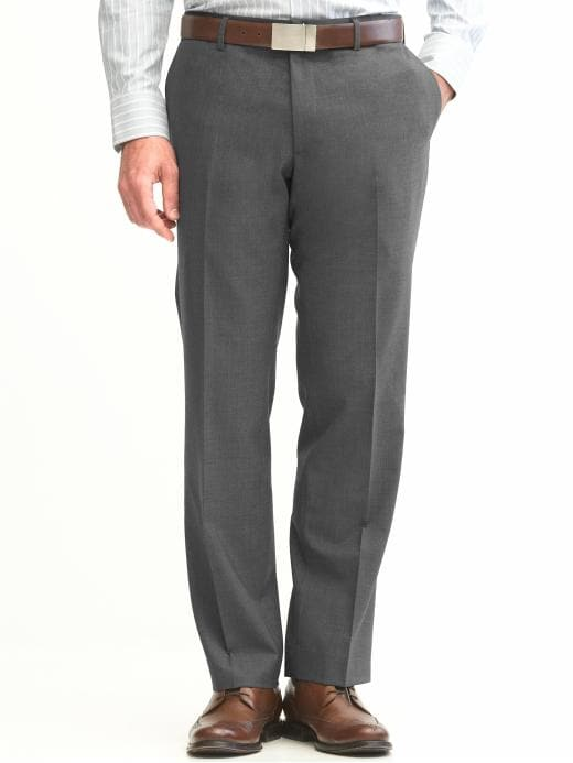 Banana Republic Classic Fit Solid Wool Trouser - Mid gray - Banana Republic Canada
