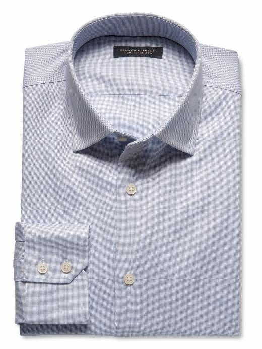 Banana Republic Slim Fit Non-Iron Textured Solid Shirt - Sky blue - Banana Republic Canada