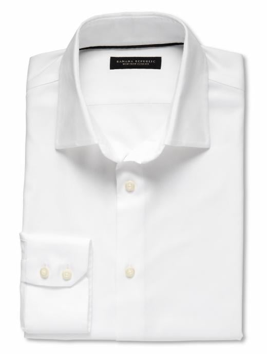 Banana Republic Slim Fit Non-Iron Textured Solid Shirt - White - Banana Republic Canada
