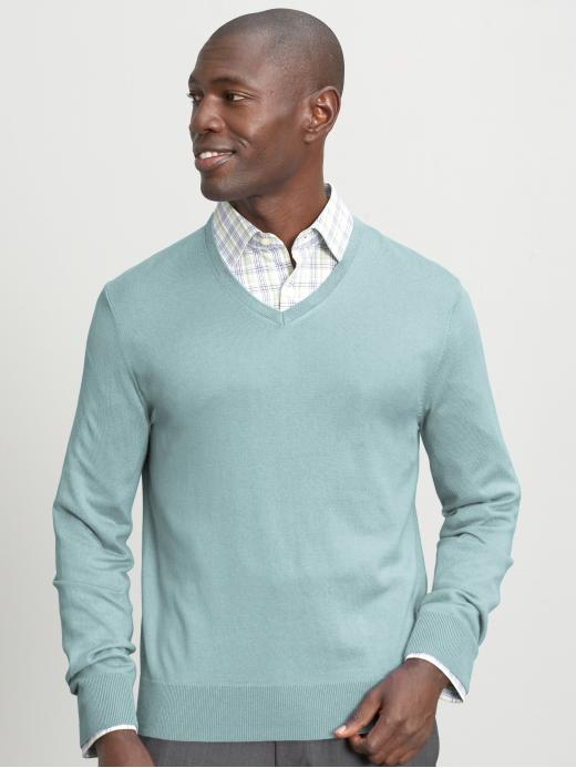 Banana Republic Silk/Cotton/Cashmere Vneck Sweater - Blue - Banana Republic Canada