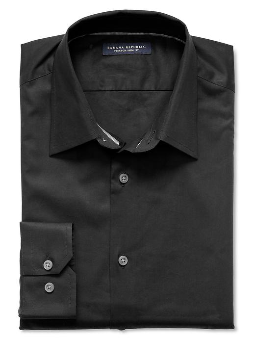 Banana Republic Slim Fit Stretch Dress Shirt - Black - Banana Republic Canada
