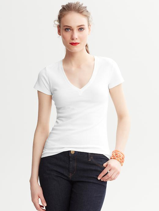 Banana Republic Timeless V-Neck Tee - White - Banana Republic Canada