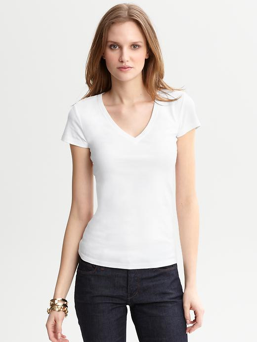 Banana Republic Timeless V Neck Tee - White - Banana Republic Canada