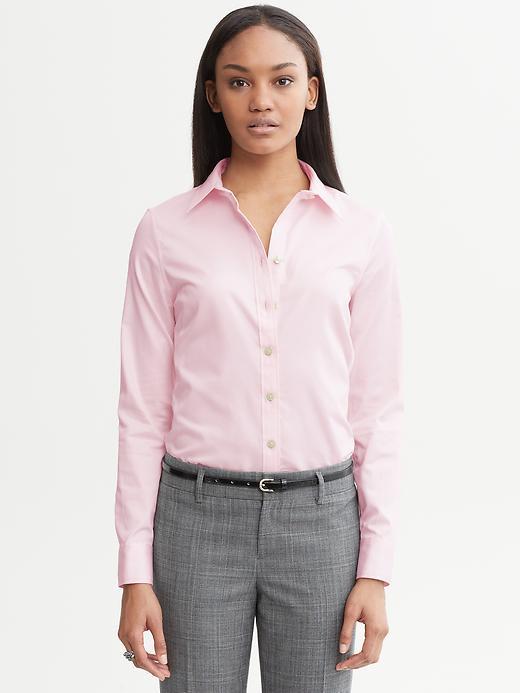 Banana Republic Non-Iron Fitted Sateen Shirt - Light pink - Banana Republic Canada