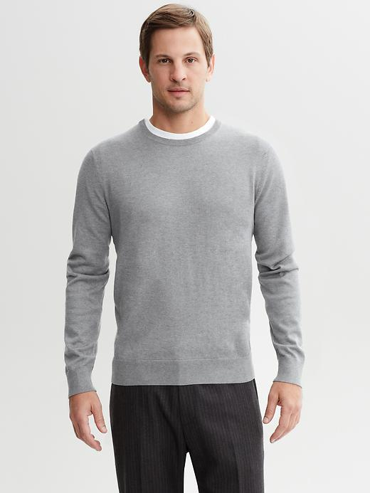 Banana Republic Silk Cotton Crew Neck Pullover - Grey heather - Banana Republic Canada