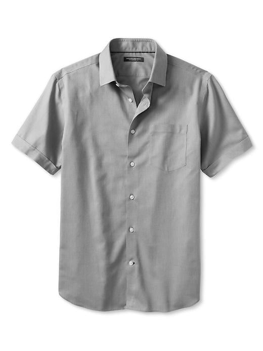 Banana Republic Non Iron Short Sleeve Shirt - Slate grey 797 - Banana Republic Canada