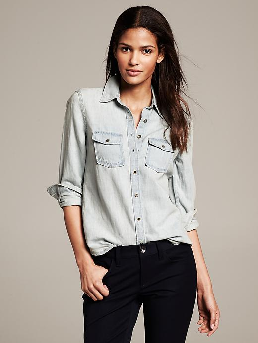 Banana Republic Light Wash Denim Shirt - Light denim - Banana Republic Canada