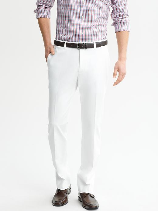 Banana Republic Tailored Slim Cotton Trouser - White - Banana Republic Canada