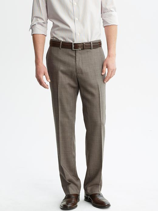 Banana Republic Classic Fit Textured Taupe Cotton Dress Pant - Taupe - Banana Republic Canada