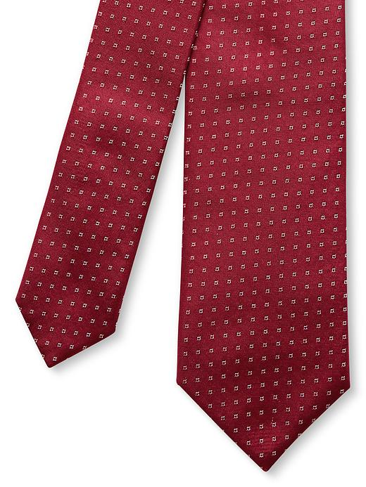 Banana Republic Fletcher Micro Geo Print Silk Skinny Tie - Red 1 - Banana Republic Canada