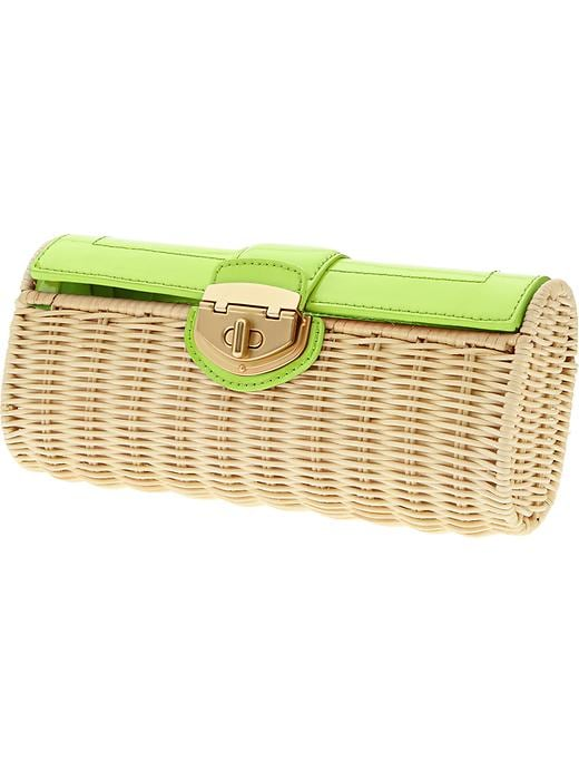 Banana Republic Milly Collection Patent Wicker Clutch - Green - Banana Republic Canada
