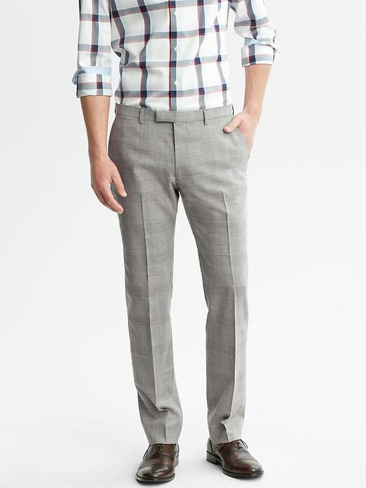 Banana Republic Tailored Fit Grey Plaid Wool Suit Trouser - Grey plaid - Banana Republic Canada