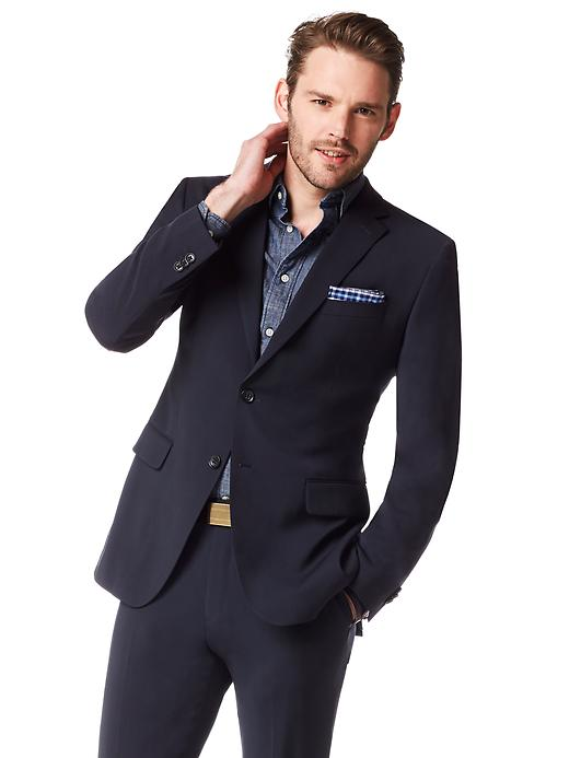 Banana Republic Tailored Fit Italian Wool Navy Two-Button Suit Blazer - Navy