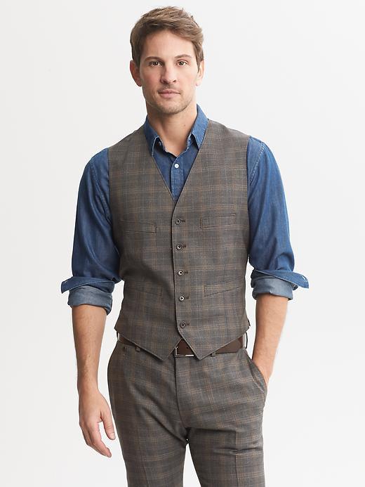 Banana Republic Heritage Brown Plaid Wool Suit Vest - Brown - Banana Republic Canada
