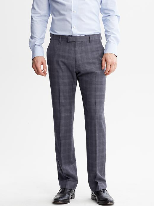 Banana Republic Tailored Fit Navy Plaid Wool Suit Trouser - Navy - Banana Republic Canada