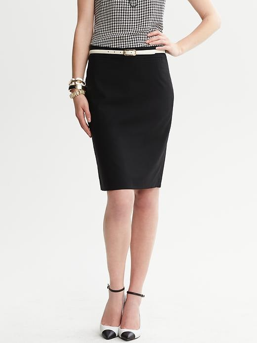 Banana Republic Black Lightweight Wool Pencil Skirt - Black - Banana Republic Canada