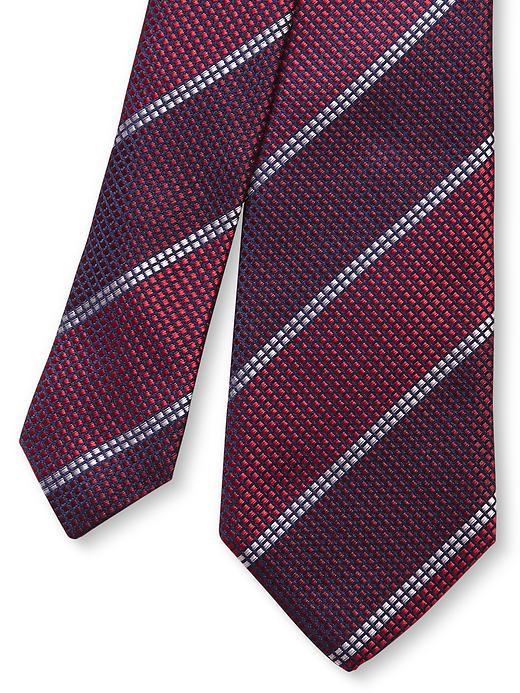 Banana Republic Red Textured Stripe Silk Skinny Tie - Red 1 - Banana Republic Canada