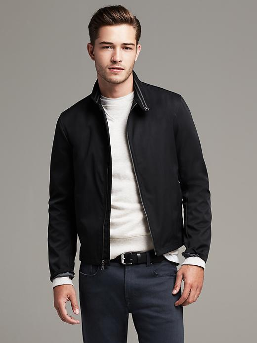 Banana Republic Black Nylon/Cotton Zip Jacket - Black - Banana Republic Canada