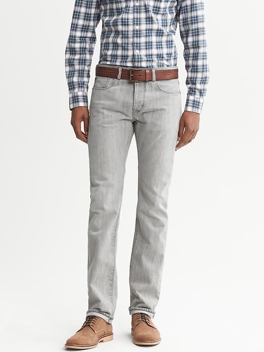 Banana Republic Heritage Slim Fit Light Grey Five Pocket Jean - Light gray heather - Banana Republic Canada