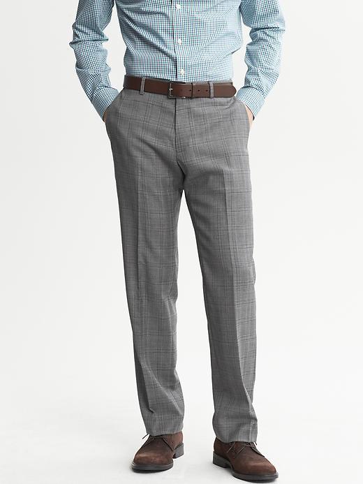 Banana Republic Tailored Slim Fit Grey Plaid Wool Dress Pant - Grey plaid - Banana Republic Canada