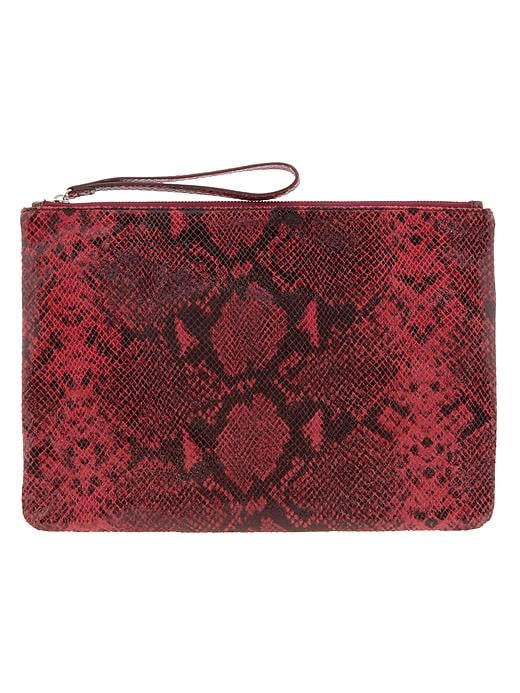 Banana Republic Python Embossed Oversized Clutch - Burgundy - Banana Republic Canada