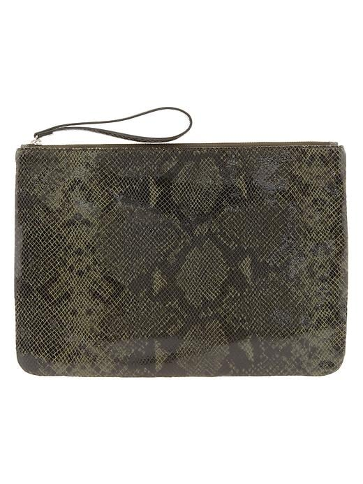 Banana Republic Python Embossed Oversized Clutch - Military green - Banana Republic Canada