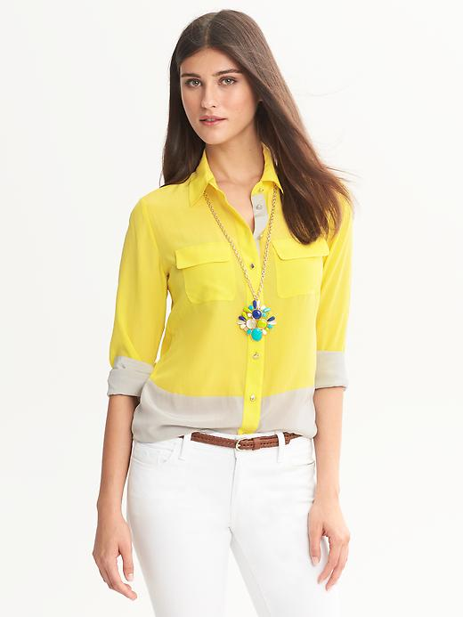 Banana Republic Colorblock Silk Blouse - Tuscan sun - Banana Republic Canada