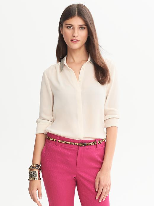 Banana Republic Lurex Collar Blouse - Opal - Banana Republic Canada