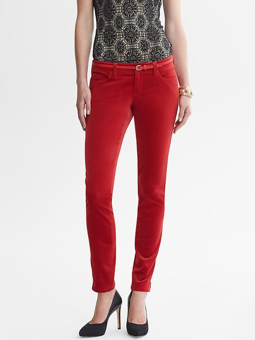 Banana Republic Heritage Velvet Skinny Ankle Zip Pant - Saucy red - Banana Republic Canada