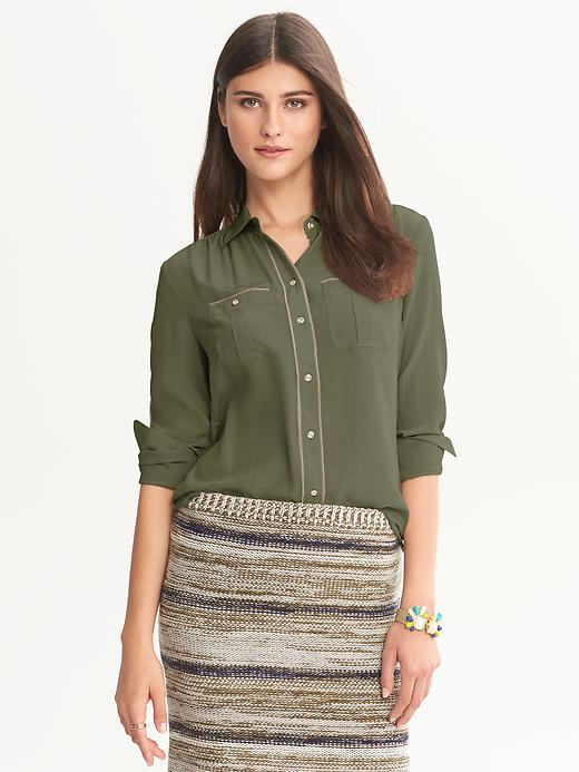 Banana Republic Heritage Silk Safari Blouse - Whispering pine - Banana Republic Canada
