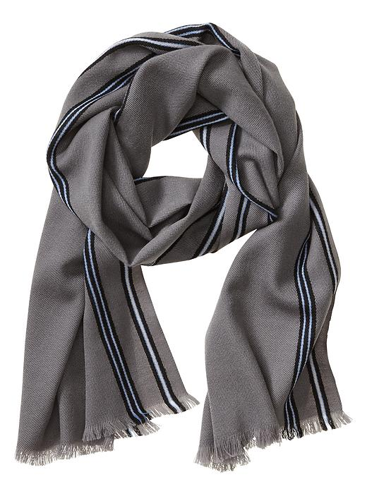 Banana Republic Bordered Wool Scarf - Grey heather - Banana Republic Canada