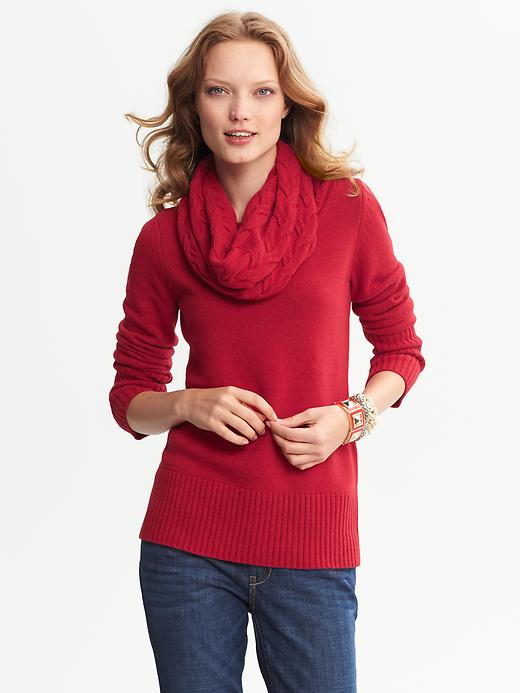 Banana Republic Cable Knit Cowl Neck Pullover - Saucy red - Banana Republic Canada