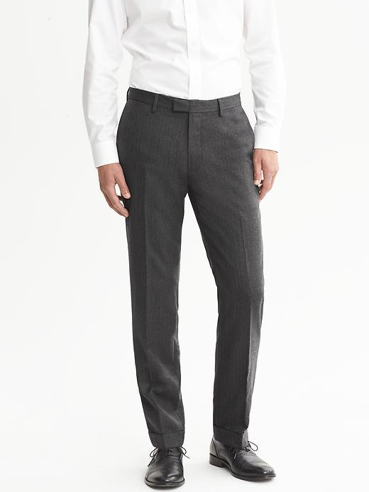 Banana Republic Modern Slim Fit Cuffed Wool Pant - Grey - Banana Republic Canada