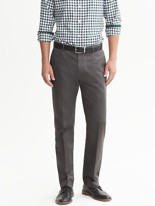 Banana Republic Tailored Slim Non Iron Cotton Pant - Natural grey - Banana Republic Canada