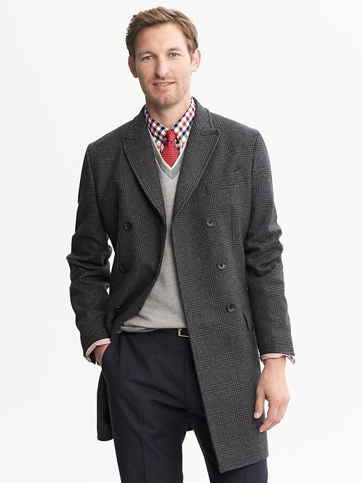 Banana Republic Charcoal Plaid Double Breasted Topcoat - Charcoal - Banana Republic Canada