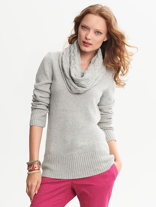 Banana Republic Cable Knit Cowl Neck Pullover - Light grey heather - Banana Republic Canada