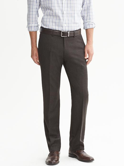 Banana Republic Tailored Slim Fit Brown Houndstooth Flannel Dress Pant - Brown combo - Banana Republic Canada