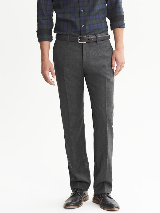 Banana Republic Tailored Slim Fit Flannel Pant - Grey heather - Banana Republic Canada