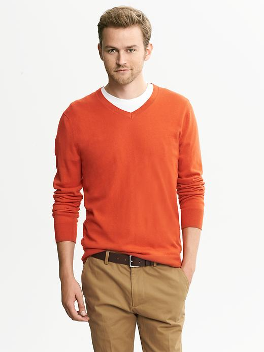 Banana Republic Silk Cotton Cashmere V Neck - Spicy orange - Banana Republic Canada