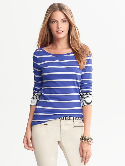 Banana Republic Bold Stripe Timeless Tee - Blue violet - Banana Republic Canada
