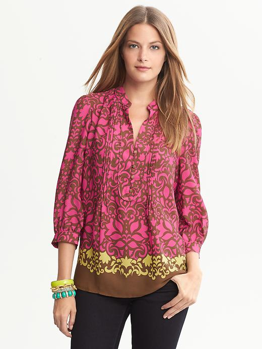 Banana Republic Bold Floral Blouse - Bright celedon - Banana Republic Canada