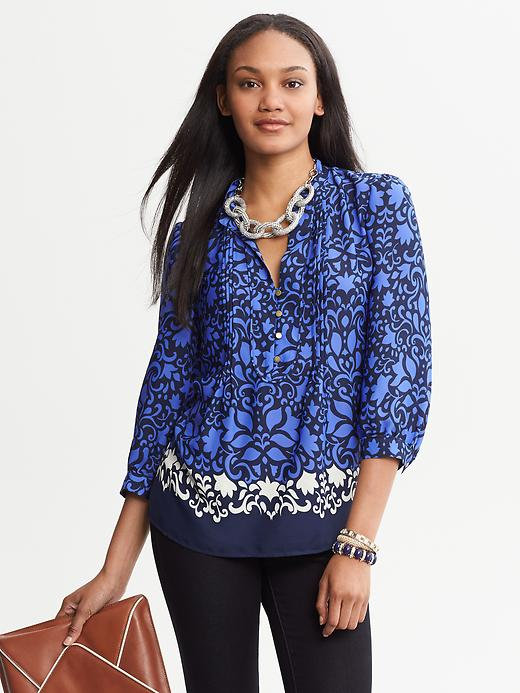 Banana Republic Bold Floral Blouse - Navy base blue - Banana Republic Canada