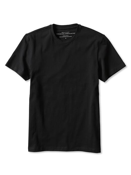 Banana Republic New Stretch-Pima Cotton Basic Tee - Black - Banana Republic Canada