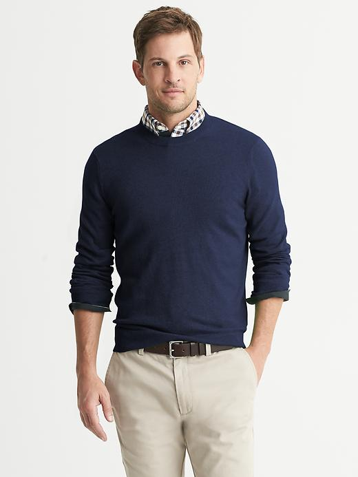 Banana Republic Cotton/Cashmere Crew - Dark navy heather - Banana Republic Canada