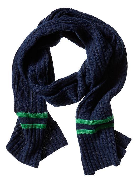 Banana Republic Marled Stripe Cable Knit Scarf - Navy - Banana Republic Canada